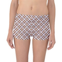 Woven2 White Marble & Rusted Metal (r) Boyleg Bikini Bottoms