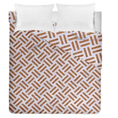 WOVEN2 WHITE MARBLE & RUSTED METAL (R) Duvet Cover Double Side (Queen Size)
