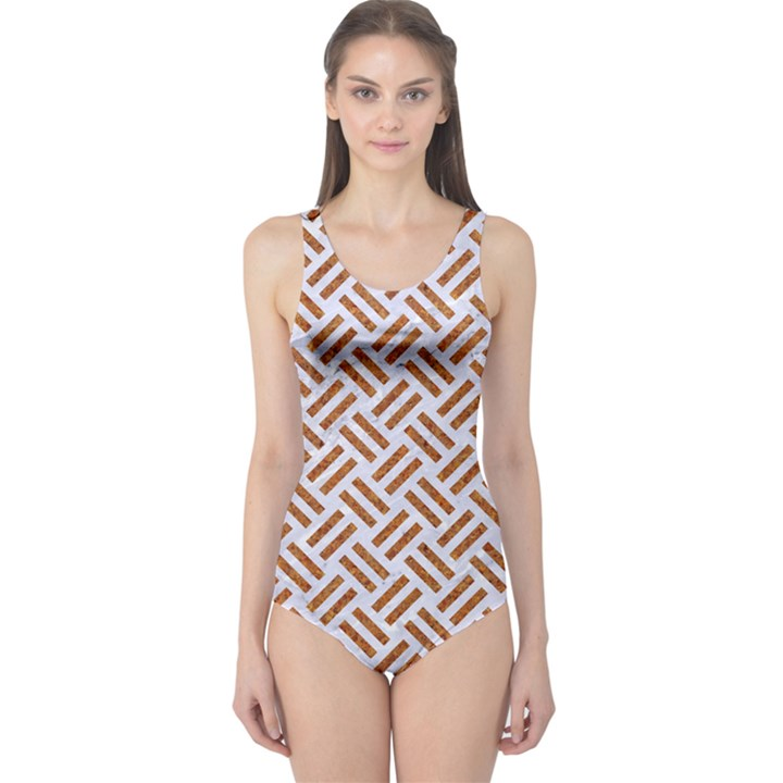 WOVEN2 WHITE MARBLE & RUSTED METAL (R) One Piece Swimsuit