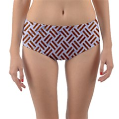 Woven2 White Marble & Rusted Metal (r) Reversible Mid Waist Bikini Bottoms