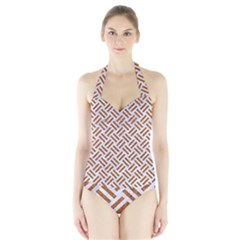 WOVEN2 WHITE MARBLE & RUSTED METAL (R) Halter Swimsuit