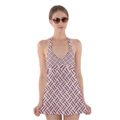 WOVEN2 WHITE MARBLE & RUSTED METAL (R) Halter Dress Swimsuit