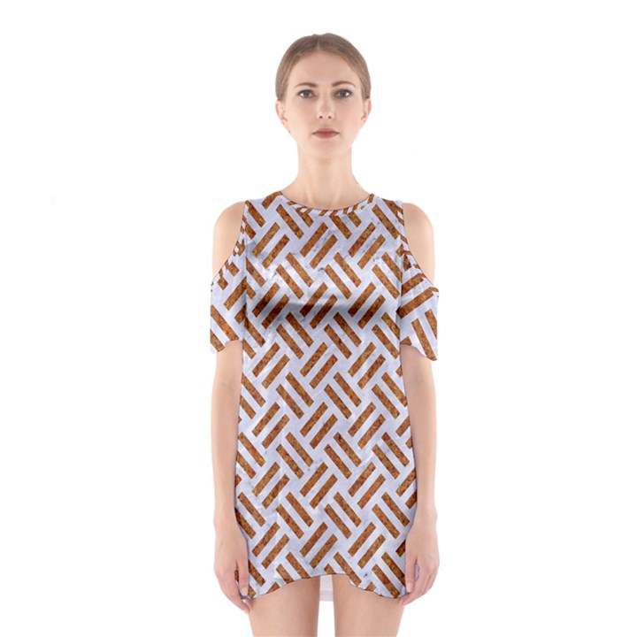 WOVEN2 WHITE MARBLE & RUSTED METAL (R) Shoulder Cutout One Piece