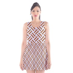 Woven2 White Marble & Rusted Metal (r) Scoop Neck Skater Dress