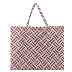 WOVEN2 WHITE MARBLE & RUSTED METAL (R) Zipper Large Tote Bag