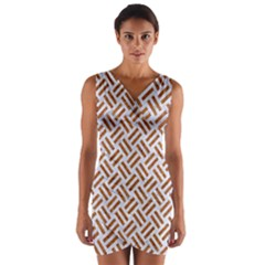WOVEN2 WHITE MARBLE & RUSTED METAL (R) Wrap Front Bodycon Dress