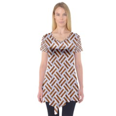WOVEN2 WHITE MARBLE & RUSTED METAL (R) Short Sleeve Tunic