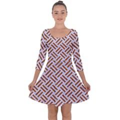 WOVEN2 WHITE MARBLE & RUSTED METAL (R) Quarter Sleeve Skater Dress