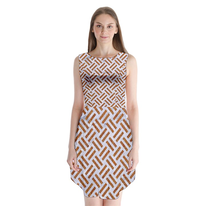 WOVEN2 WHITE MARBLE & RUSTED METAL (R) Sleeveless Chiffon Dress