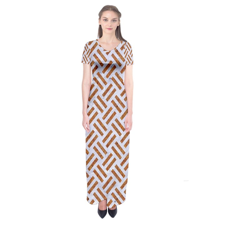 WOVEN2 WHITE MARBLE & RUSTED METAL (R) Short Sleeve Maxi Dress