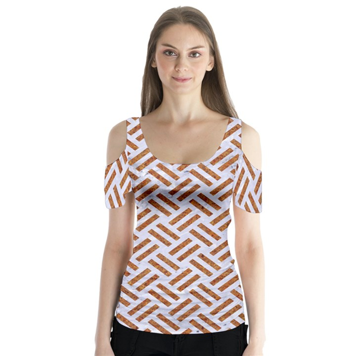 WOVEN2 WHITE MARBLE & RUSTED METAL (R) Butterfly Sleeve Cutout Tee