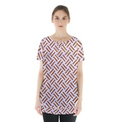 WOVEN2 WHITE MARBLE & RUSTED METAL (R) Skirt Hem Sports Top