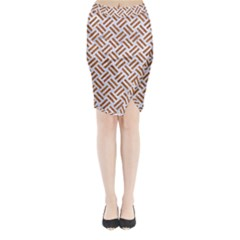 WOVEN2 WHITE MARBLE & RUSTED METAL (R) Midi Wrap Pencil Skirt