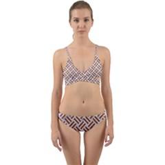WOVEN2 WHITE MARBLE & RUSTED METAL (R) Wrap Around Bikini Set