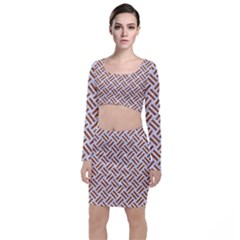 WOVEN2 WHITE MARBLE & RUSTED METAL (R) Long Sleeve Crop Top & Bodycon Skirt Set