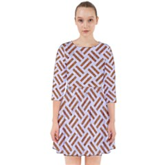 Woven2 White Marble & Rusted Metal (r) Smock Dress