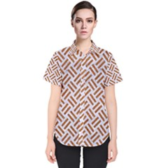 WOVEN2 WHITE MARBLE & RUSTED METAL (R) Women s Short Sleeve Shirt