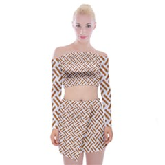 WOVEN2 WHITE MARBLE & RUSTED METAL (R) Off Shoulder Top with Mini Skirt Set