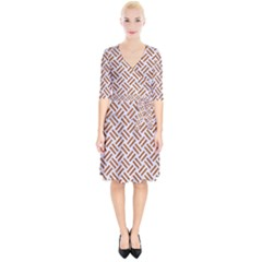 WOVEN2 WHITE MARBLE & RUSTED METAL (R) Wrap Up Cocktail Dress