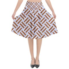 Woven2 White Marble & Rusted Metal (r) Flared Midi Skirt
