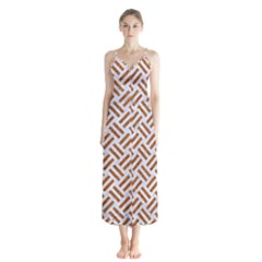 WOVEN2 WHITE MARBLE & RUSTED METAL (R) Button Up Chiffon Maxi Dress