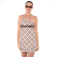 WOVEN2 WHITE MARBLE & RUSTED METAL (R) One Soulder Bodycon Dress