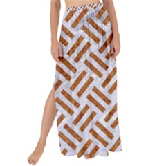 Woven2 White Marble & Rusted Metal (r) Maxi Chiffon Tie Up Sarong