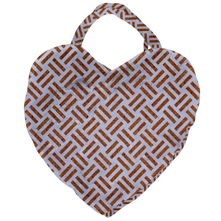 WOVEN2 WHITE MARBLE & RUSTED METAL (R) Giant Heart Shaped Tote
