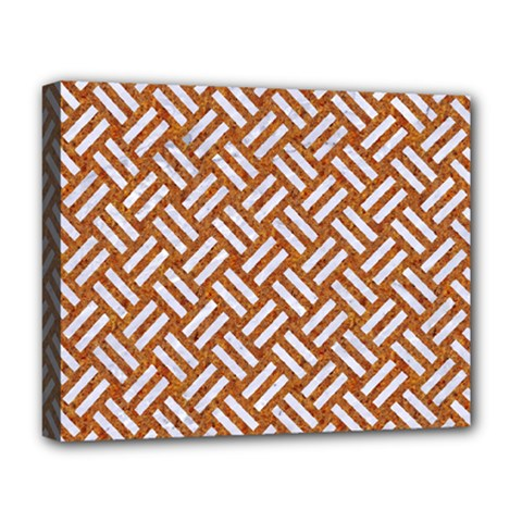 Woven2 White Marble & Rusted Metal Deluxe Canvas 20  X 16