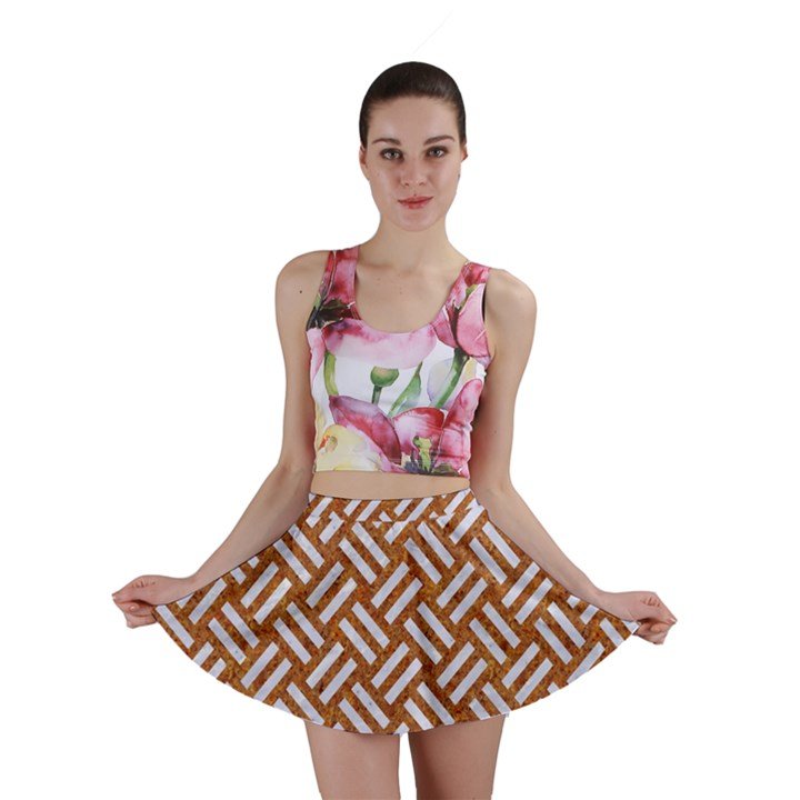 WOVEN2 WHITE MARBLE & RUSTED METAL Mini Skirt