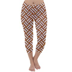 Woven2 White Marble & Rusted Metal Capri Winter Leggings