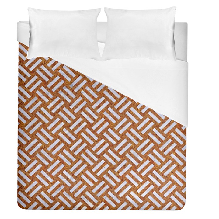 WOVEN2 WHITE MARBLE & RUSTED METAL Duvet Cover (Queen Size)
