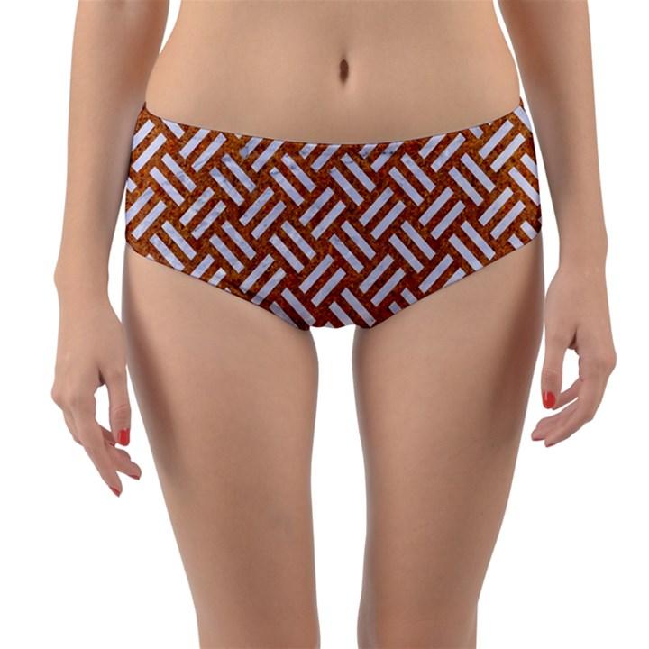 WOVEN2 WHITE MARBLE & RUSTED METAL Reversible Mid-Waist Bikini Bottoms