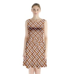 Woven2 White Marble & Rusted Metal Sleeveless Waist Tie Chiffon Dress