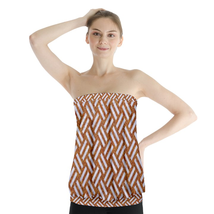 WOVEN2 WHITE MARBLE & RUSTED METAL Strapless Top
