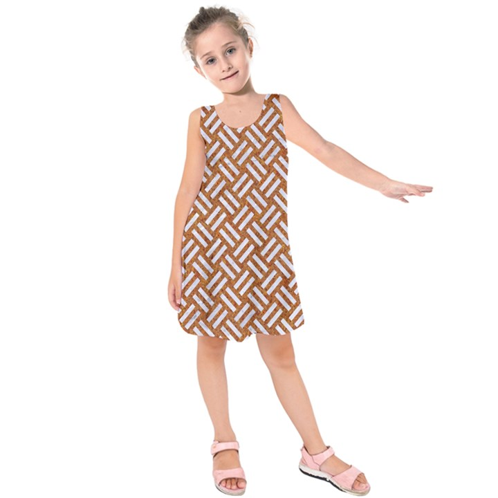 WOVEN2 WHITE MARBLE & RUSTED METAL Kids  Sleeveless Dress
