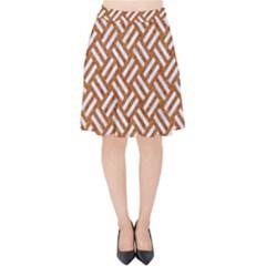 Woven2 White Marble & Rusted Metal Velvet High Waist Skirt