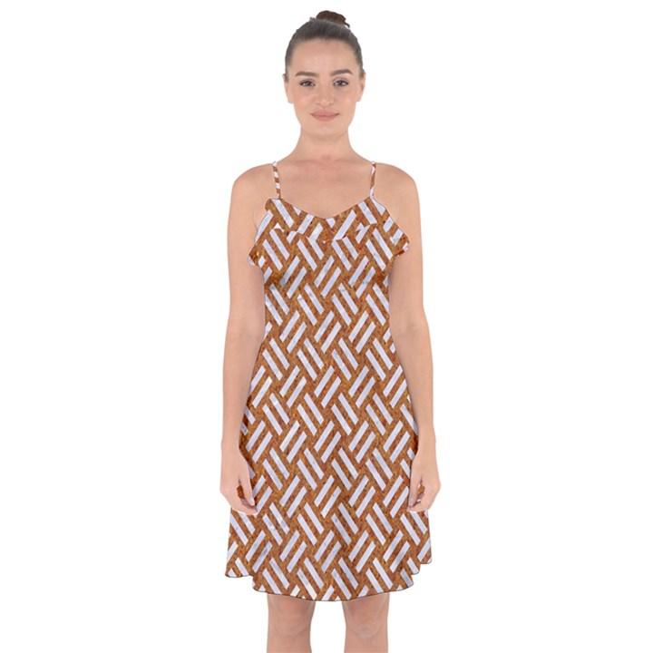 WOVEN2 WHITE MARBLE & RUSTED METAL Ruffle Detail Chiffon Dress