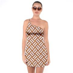 Woven2 White Marble & Rusted Metal One Soulder Bodycon Dress