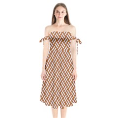 Woven2 White Marble & Rusted Metal Shoulder Tie Bardot Midi Dress