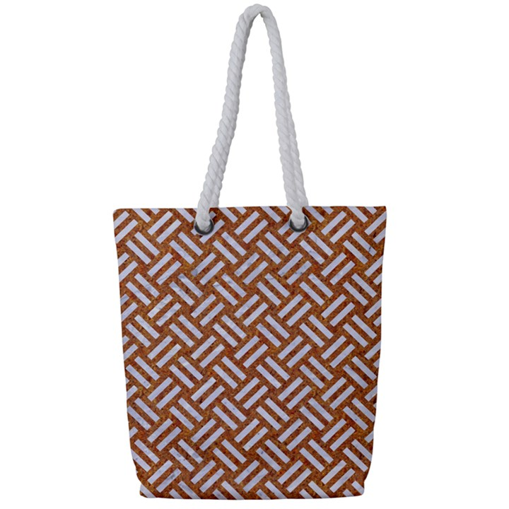 WOVEN2 WHITE MARBLE & RUSTED METAL Full Print Rope Handle Tote (Small)