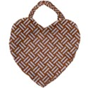 WOVEN2 WHITE MARBLE & RUSTED METAL Giant Heart Shaped Tote View1