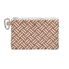 Woven2 White Marble & Rusted Metal Canvas Cosmetic Bag (medium)