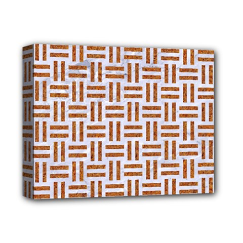Woven1 White Marble & Rusted Metal (r) Deluxe Canvas 14  X 11  by trendistuff