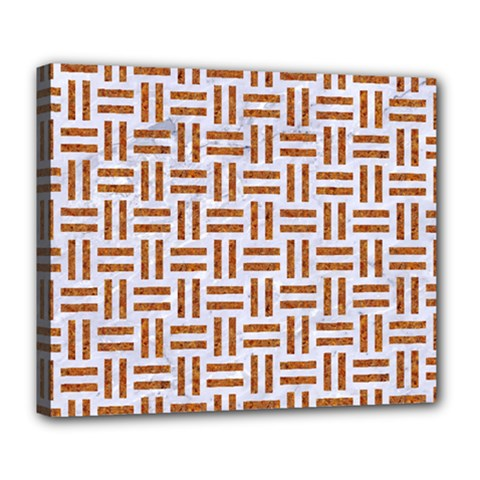 Woven1 White Marble & Rusted Metal (r) Deluxe Canvas 24  X 20