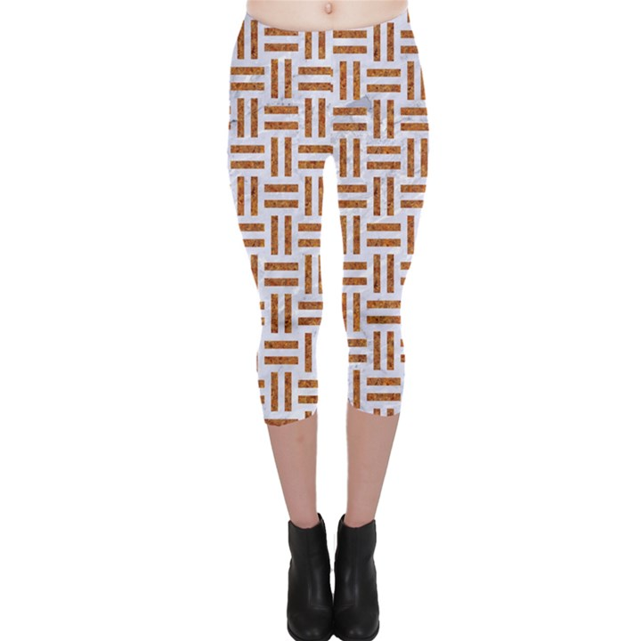 WOVEN1 WHITE MARBLE & RUSTED METAL (R) Capri Leggings