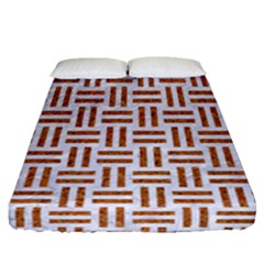 Woven1 White Marble & Rusted Metal (r) Fitted Sheet (queen Size) by trendistuff