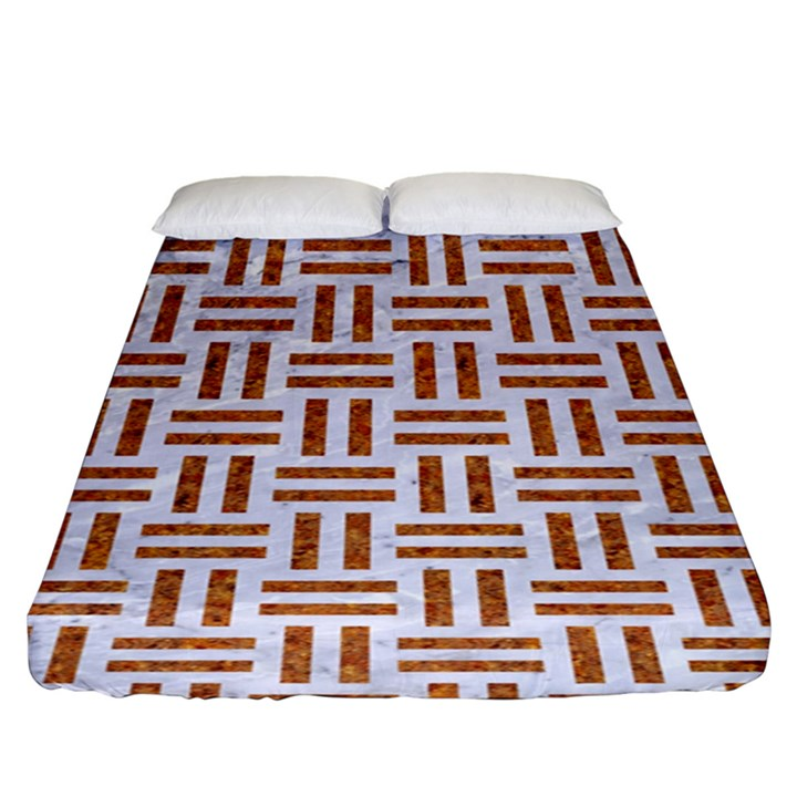 WOVEN1 WHITE MARBLE & RUSTED METAL (R) Fitted Sheet (King Size)