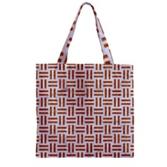 Woven1 White Marble & Rusted Metal (r) Zipper Grocery Tote Bag by trendistuff