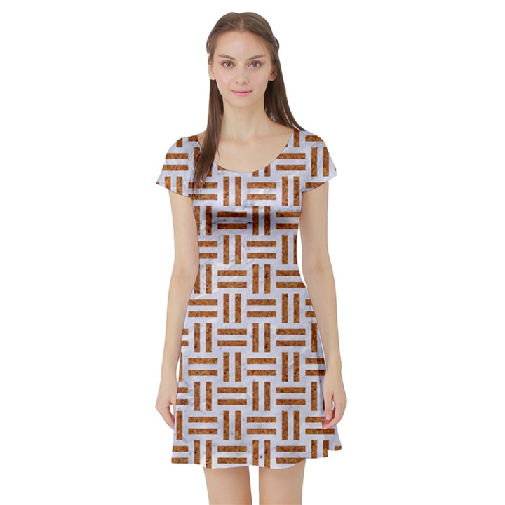 WOVEN1 WHITE MARBLE & RUSTED METAL (R) Short Sleeve Skater Dress
